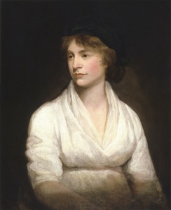 Left-looking half-length portrait of a slightly pregnant woman in a white dress