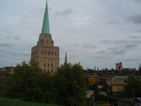 The spire of Nuffield is prominent in the Oxford skyline