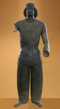 Bronze statue of a Parthian nobleman from the sanctuary at Shami in Elymais (modern-day Khūzestān Province, Iran, along the Persian Gulf), now located at the National Museum of Iran. Dated 50 BC-150 AD, Parthian School.