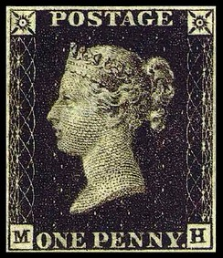 The Penny Black, the world's first postage stamp.