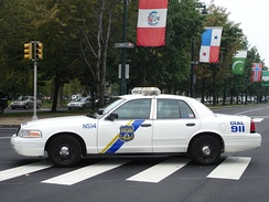 A Philadelphia police cruiser on the Benjamin Franklin Parkway