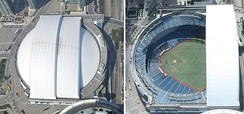 Rogers Centre is the first functional retractable-roof stadium, shown with the roof both opened and closed.