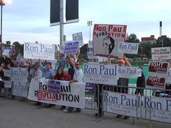 Ron Paul supporters outside of the debate venue