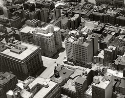 Aerial view of the eastern part of Martin Place in 1936, after the completion of the final extension to Macquarie Street in 1935.