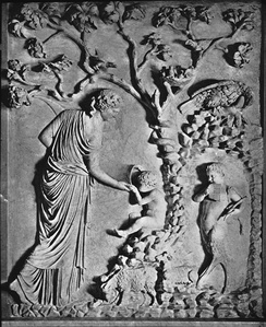 Sencathea [?] [Female figure] feeding infant Plutus from horn of plenty, relief, Rome. Brooklyn Museum Archives, Goodyear Archival Collection.