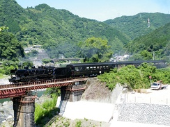 The SL Hitoyoshi steam-hauled excursion train operating between Kumamoto and Hitoyoshi in Kyushu, Japan