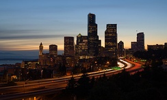 Interstate 5 in Washington as it passes through downtown Seattle