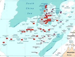 Map of the Spratly Islands with various countries such as China, Malaysia, Philippines, Taiwan and Vietnam occupying the islands not far from the shore of Sabah.