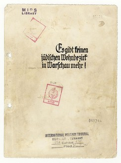 "The cover page of the ""American copy"" of The Stroop Report with International Military Tribunal in Nuremberg markings."
