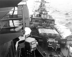 Soviet frigate Bezzavetny (right) bumping the USS Yorktown during the 1988 Black Sea bumping incident.