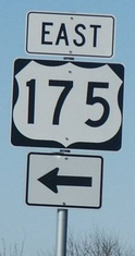 Marker for U.S. Highway 175 east of Kaufman