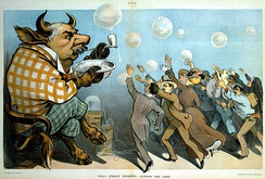 A 1901 cartoon depicting financier J. P. Morgan as a bull with eager investors