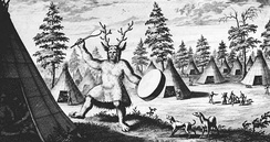 "The earliest known depiction of a Siberian shaman, by the Dutch Nicolaes Witsen, 17th century. Witsen called him a ""priest of the Devil"" and drew clawed feet for the supposed demonic qualities.[6]"