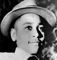 Emmett Till before and after the lynching on August 28, 1955. He was a fourteen-year-old boy in Chicago who went to spend the summer together with his uncle Moses Wright in Money, Mississippi, and was brutally murdered by white men for allegedly whistling at a white woman.