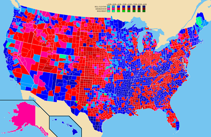 Election results by county  Bill Clinton   George H. W. Bush   Ross Perot