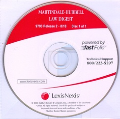2010 Edition of Martindale Hubbell Law Digest ON CD-ROM.  This was the last published edition of the Law Digest.