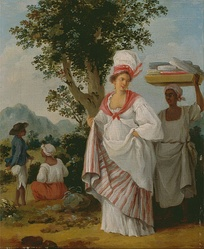 West Indian Creole woman, with her black servant, circa 1780