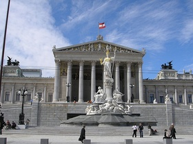 The Austrian Parliament building in Vienna