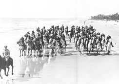 """The Beach Pounders"" – U.S. Coast Guard Mounted Beach Patrol training on HHI during World War II."