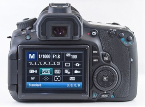 Rear view of Canon 60D featuring quick control dial to the right of the LCD screen.
