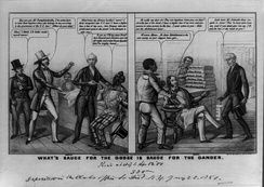 "Print by E. W. Clay, an artist who published many proslavery cartoons, supports the Fugitive Slave Act of 1850. In the cartoon, a Southerner mocks a Northerner who claims his goods, several bolts of fabric, have been stolen. ""They are fugitives from you, are they?"" asks the slaveholder. Adopting the rhetoric of abolitionists, he continues, ""As to the law of the land, I have a higher law of my own, and possession is nine points in the law."""