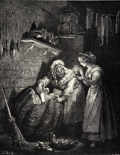 Illustration to Cinderella by Gustave Doré:  the fairy godmother preparing an enchantment for her goddaughter.