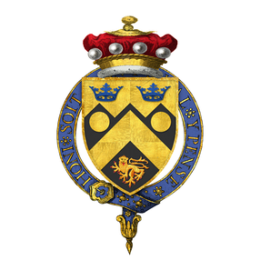 Garter-encircled arms of Cameron Cobbold, 1st Baron Cobbold, KG, as displayed on his Order of the Garter stall plate in St. George's Chapel, Windsor Castle - viz. Sable a chevron or between two bezants in chief and a lion passant in base of the last, on a chief dancetty of the last two ducal coronets azure.
