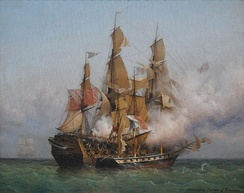 Kent battling Confiance, a privateer vessel commanded by French corsair Robert Surcouf in October 1800, as depicted in a painting by Garneray.