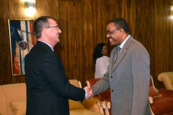 Former Prime Minister of Ethiopia Hailemariam Desalegn meeting with former US Deputy Secretary of Defense Ash Carter in Addis Ababa.