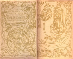 "Endpapers of the original 1906 run of the Everyman's Library. The art signed ""RLK"" is heavily based on that of William Morris and his Kelmscott Press, whereas the quotation is derived from the medieval play Everyman"
