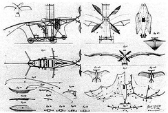 Patent drawings of Clement Ader's Éole.