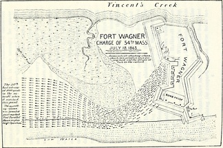 Map of the charge of the 54th Massachusetts