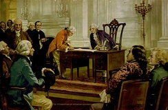 Gouverneur Morris signs the Constitution before Washington. Franklin is behind Morris. Painting by Hintermeister, 1925.[178]