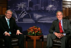 Rudd (left) and US President George W. Bush (right) meet at APEC Australia 2007 in Sydney.