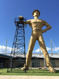 The iconic Golden Driller, built in 1953 for the 1966 International Petroleum Exposition,[131] now stands at the Tulsa County Fairgrounds.