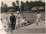 Queen Elizabeth and Prince Philip arrive at the Cocos Islands, April 1954.