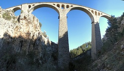 The Varda Viaduct was used for the scene in which Bond is shot.