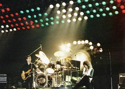 Taylor performing with Queen in 1979.
