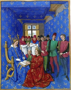 Homage of Edward I of England (kneeling) to Philip IV of France (seated), by Jean Fouquet. As Duke of Aquitaine, Edward was a vassal to the French king