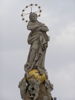 A modern statue of the Immaculate Conception atop a public square in the main street of Košice, Slovakia.