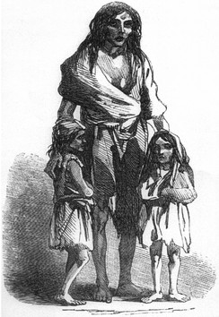 An 1849 depiction of Bridget O'Donnell and her two children during the famine.