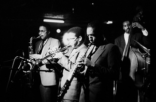 The Jazz Messengers of 1985, from left: Jean Toussaint, Terence Blanchard, Donald Harrison, and Lonnie Plaxico