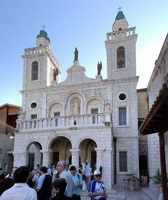 "The ""Wedding church"" in Kafr Kanna, Israel, a pilgrimage site believed by many Christians to be the site of the biblical marriage."