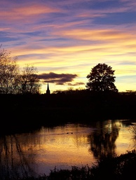 Kegworth sunset from the Soar Bridge
