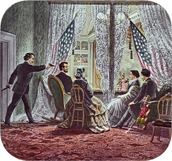 Painting of Lincoln being shot by Booth while sitting in a theater booth.