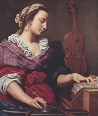 Allegory of Music (c. 1594), a painting of a woman writing sheet music by Lorenzo Lippi