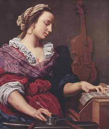 Allegory of Music (ca. 1594), a painting of a woman writing sheet music by Lorenzo Lippi