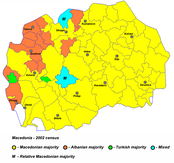 A map of Macedonia showing the most prominent ethnicity by municipality. Municipalities in the northwest frequently have Albanian majorities, and a couple with Turkish majorities. Almost all of the rest have Macedonian majorities