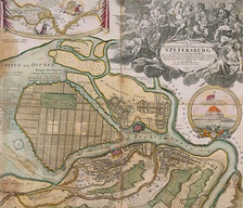 Map of the city of Saint-Petersburg, new capital of Russia in 1720