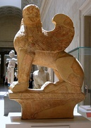 Marble sphinx on a cavetto capital, Attic, c. 580–575 B.C.